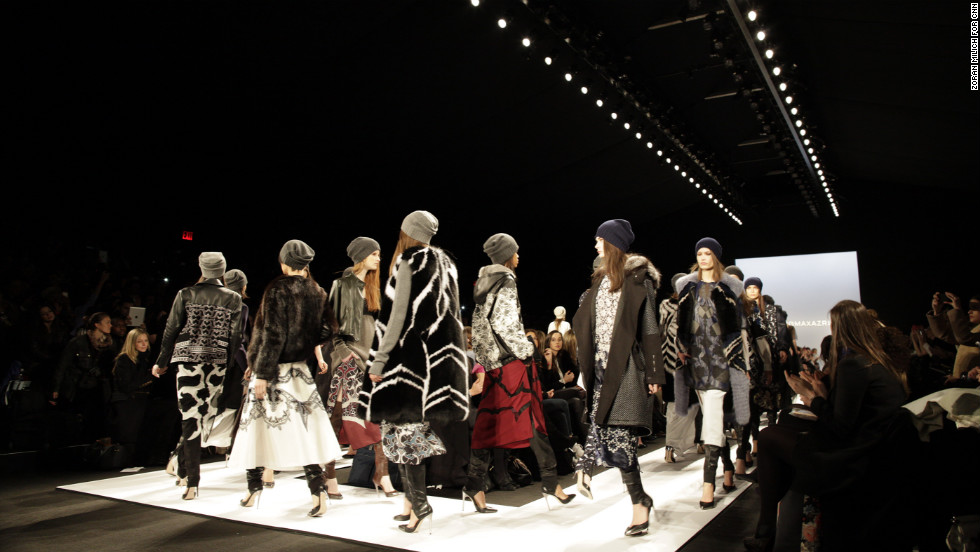 Models crowd the runway on February 6 to show off BCBG Max Azria's fall collection.