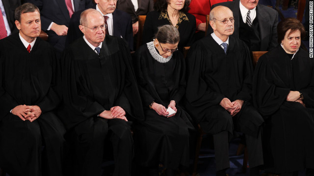 Chief Justice John G. Roberts Jr., Associate Justice Anthony M. Kennedy, Associate Justice Ruth Bader Ginsburg, Supreme Court Justice Stephen Breyer and Associate Justice Elena Kagan attendedthe 2012 State of the Union address.
