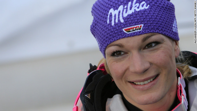 Germany's Maria Hoefl-Riesch won gold at at the women's super-combined event at the World Ski Championships in Austria.