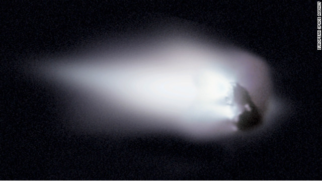 The debris from the Comet Halley's nucleus creates the trail of debris responsible for the Orionids meteor shower.