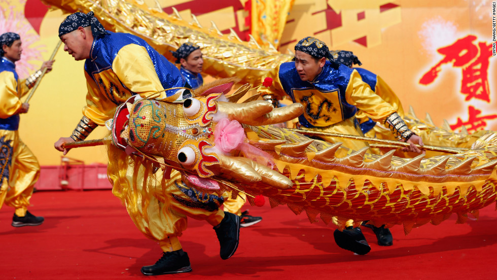 Folk artists perform during a ceremony for the Chinese New Year on February 9 in Beijing.