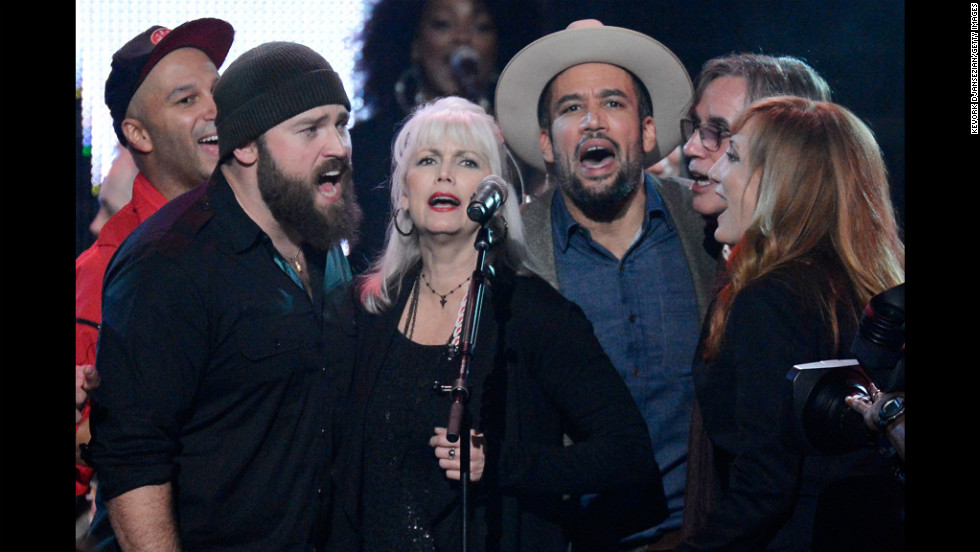 Tom Morello, Zac Brown, Emmylou Harris, Ben Harper, Jackson Browne and Patti Scialfa perform onstage.