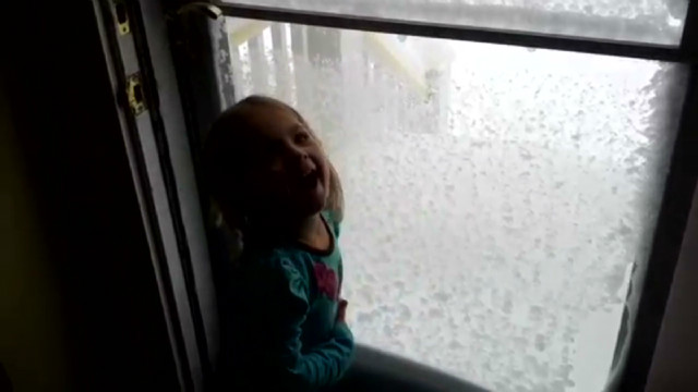 Girl gets super excited about snow