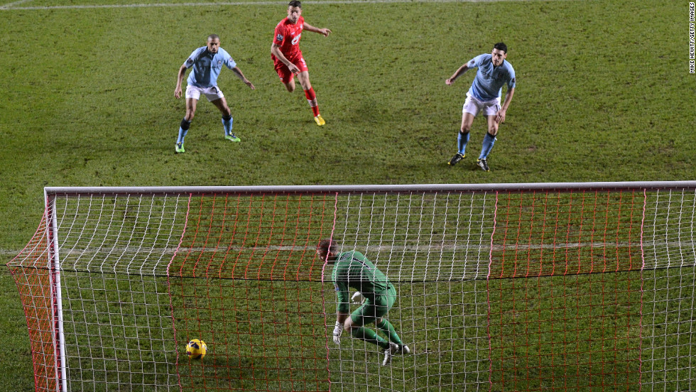 City's low point came when Gareth Barry -- who had been at fault for the first goal -- passed the ball into his own net to restore Southampton's advantage after Edin Dzeko had reduced the deficit just before the break.