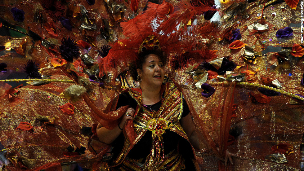 A costumed woman takes part in the Chinese lunar new year parade in Hong Kong on February 10.