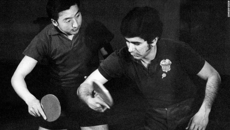 An American tennis table player, right, trains with a Chinese competitor in April 1971 in Beijing. The exhibition match helped thaw frosty Cold War relations between the U.S. and China.