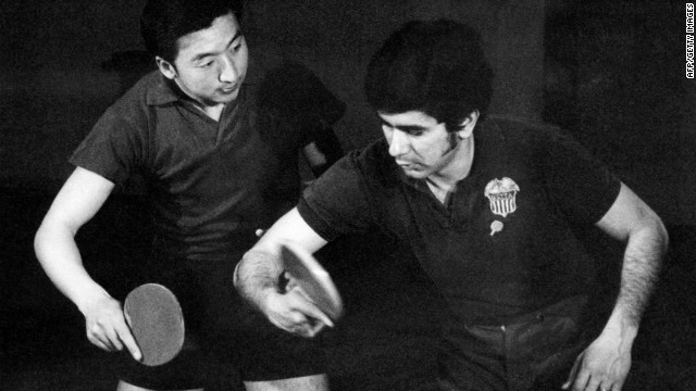 "An American table tennis player, right, trains with a Chinese player in Beijing in 1971 during what was called ""ping-pong diplomacy."""