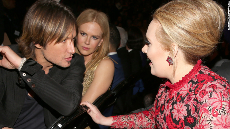 "Keith Urban to Adele: ""You're telling me you just blast your 'do with this hairpray on Mondays, and it stays put all week? See, that's what I need!""<br />Nicole Kidman to herself: ""Please, God. No."""