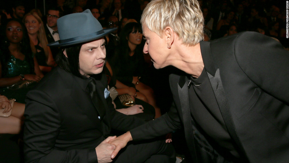 "Jack White: ""Ellen, what did you do with the hat, tie and pocket square I sent you? I thought we were going to be twinsies?""<br />Ellen DeGeneres: ""Next time, dude. I swear."""