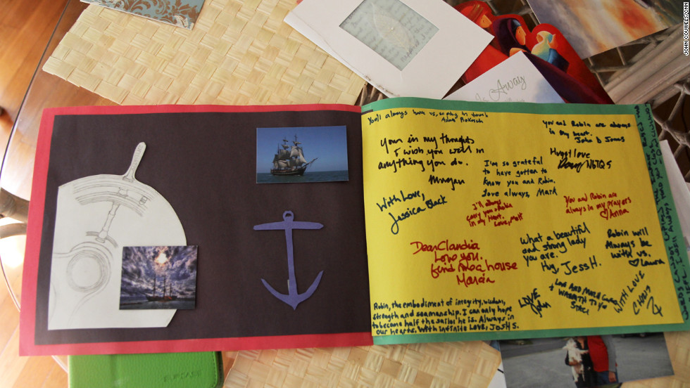 Survivors of the Bounty signed a handmade card for the captain's family.