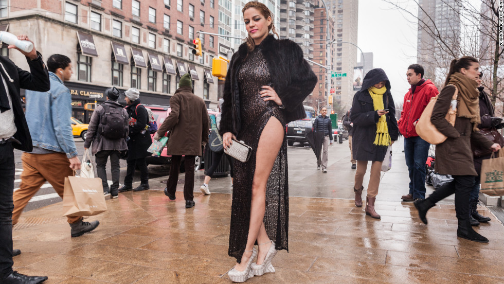 Artist Patricia Mota wears a revealing dress in the cold on February 11.