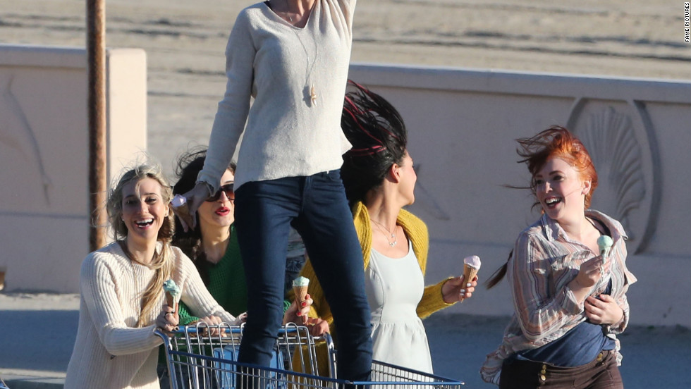 Taylor Swift films her new music video in Malibu, California.