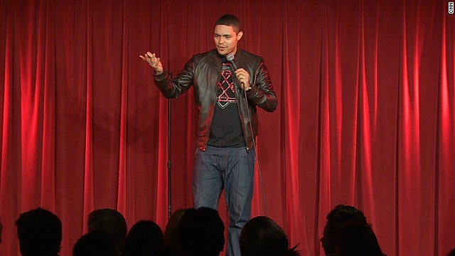 South African comedian Trevor Noah performing at the Soho Theater in London.