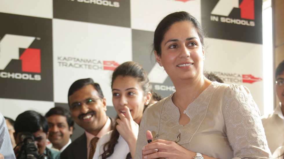 Kaltenborn, seen here at a school in Delhi, India, is involved in the FIA's F1 In Schools project, which teaches students about all roles in motorsport from engineering to marketing to finance.