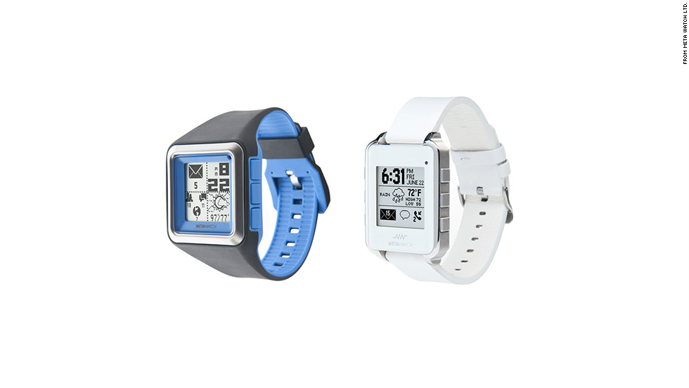 "The <a href=""http://metawatch.myshopify.com/"" target=""_blank"">MetaWatch</a> has a retro-looking, black-and-white screen, but it can connect to the iPhone 4s and iPhone 5, in addition to Android devices. It's also a water-resistant sports watch that tracks pace and distance. The watch starts at $179 and is available with various colored bands or in black or white leather."