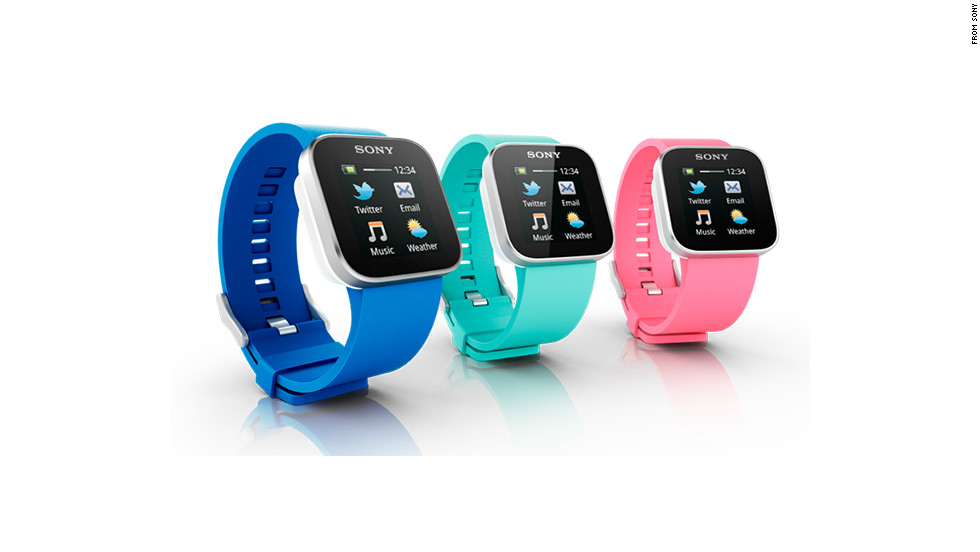 "Another full color touchscreen device, the $130 <a href=""http://www.sonymobile.com/us/products/accessories/smartwatch/features/"" target=""_blank"">Sony SmartWatch</a>, also only syncs with Android devices. When paired with a phone over Bluetooth, it can receive notifications for e-mail, texts, social networks and calendars."