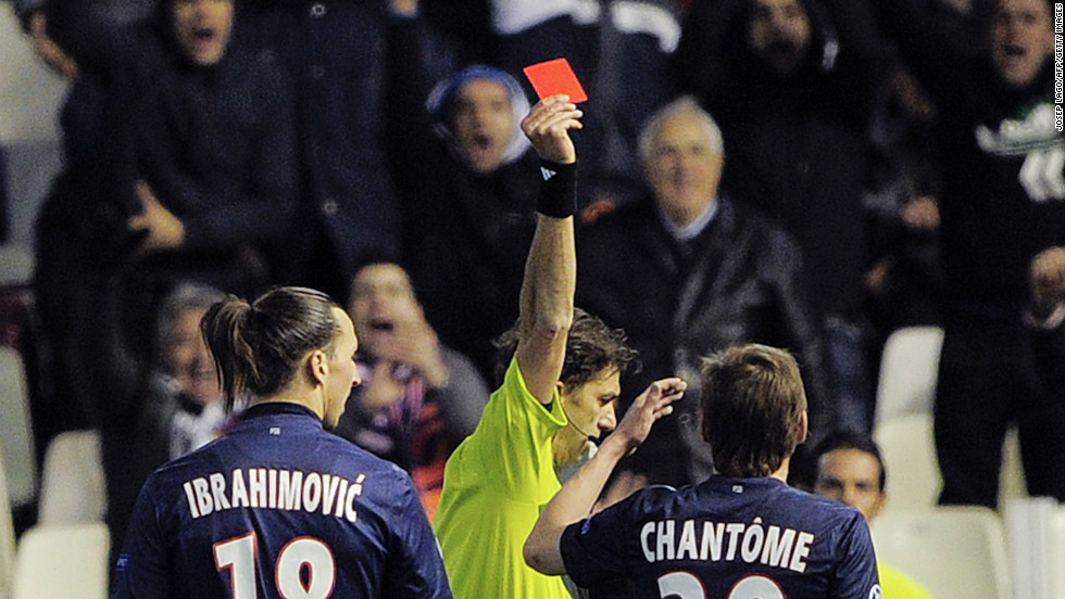 Ibrahimovic was shown a straight red card following a controversial studs-up challenge on Andres Guardado. It was the Swede's third red of his Champions League career, only Edgar Davids, four, has more. It means that the striker will miss the second leg in Paris.