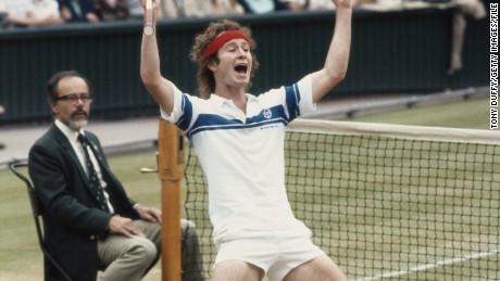McEnroe celebrates winning Wimbledon in 1981.