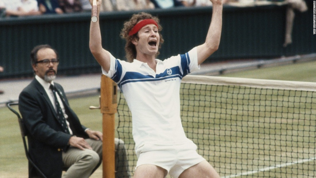 John McEnroe celebrates the first of his three Wimbledon titles after defeating Bjorn Borg in 1981. McEnroe's serve-and-volley game is nearly extinct from modern tennis due to slower courts and more powerful strokes, according to Professor Rod Cross of Sydney University.