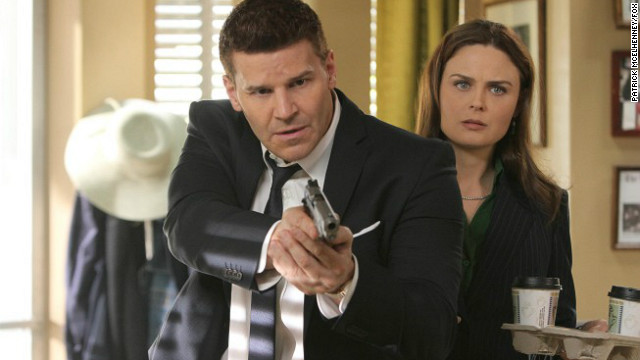 "David Boreanaz and Emily Deschanel) star in the Fox series ""Bones."""