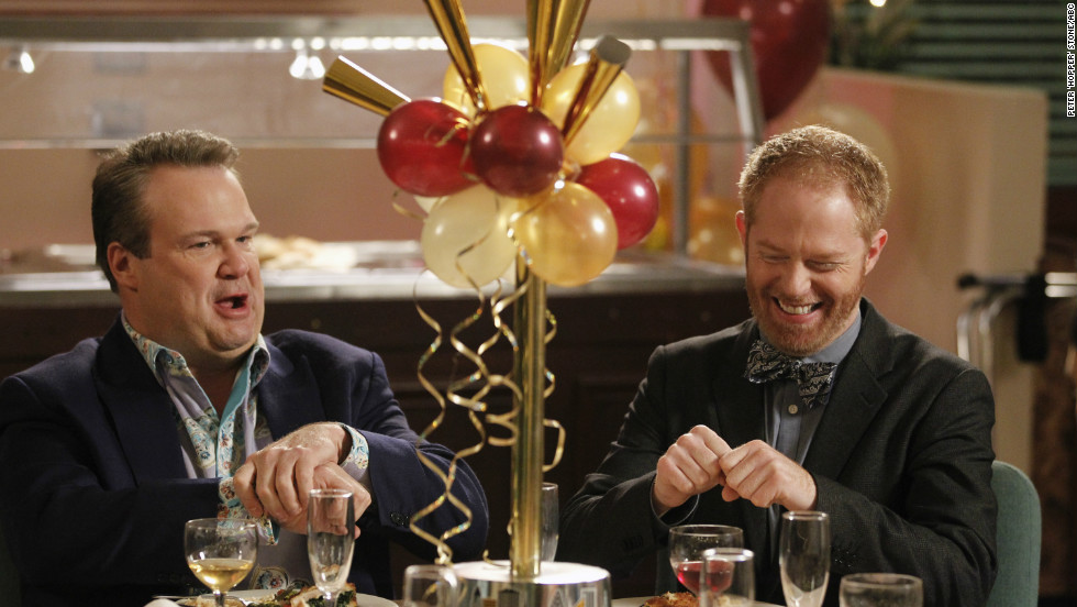"It's quite a feat to steal scenes regularly on one of the most acclaimed comedies on television, but Cam (Eric Stonestreet, left) and Mitchell (Jesse Tyler Ferguson) make it look easy on ""Modern Family."""
