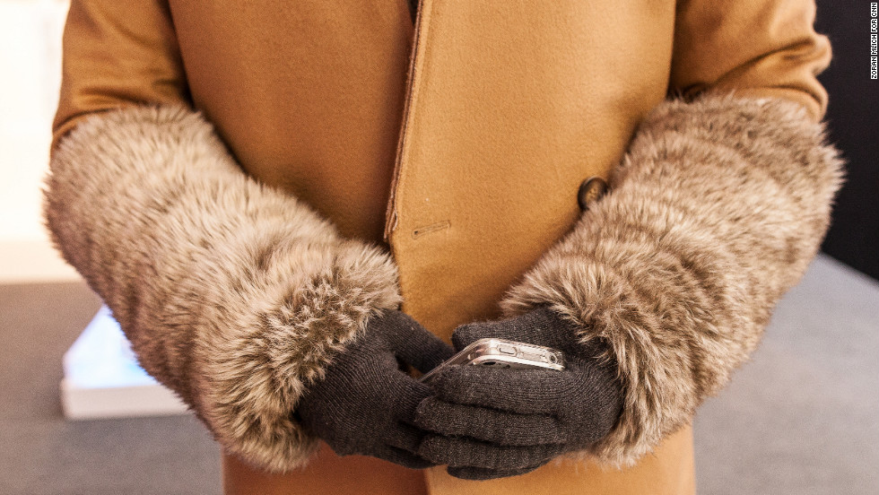 Faux fur was also on display at Fashion Week. An attendee wears animal-free arm warmers outside the Lincoln Center on February 8.