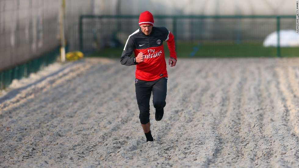 Beckham takes to the sand as he steps up his training regime. Running on sand has several long-term benefits which includes strengthening the lower body muscles, burning more calories and is supposed to be easier on the joints as opposed to grass.
