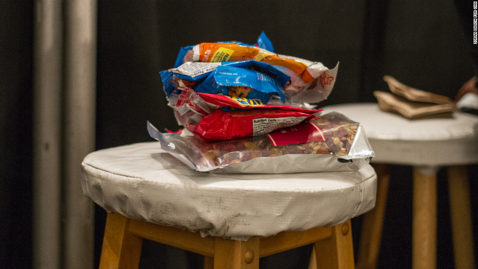 Snacks are available for models on February 13 at the Nanette Lepore show.