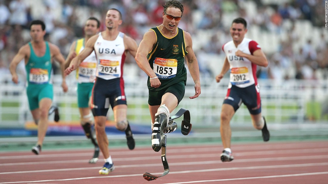 "Pistorius won gold for the first time at the 2004 Athens Paralympics. He won the 200-meter final and set a new world record. The South African sprinter was called the ""Blade Runner"" because of his carbon-fiber prosthetic legs."