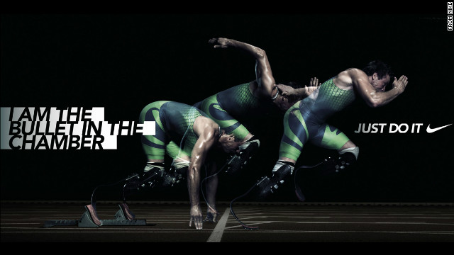 Pisorius appears in a advertisement for Nike.  The image appeared on Pistorius' offical website, but has now been removed.