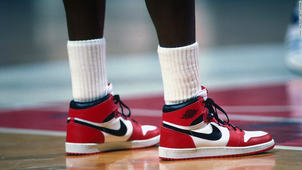 Jordan sports the shoes named after him in  a game against the Washington Bullets circa 1985.