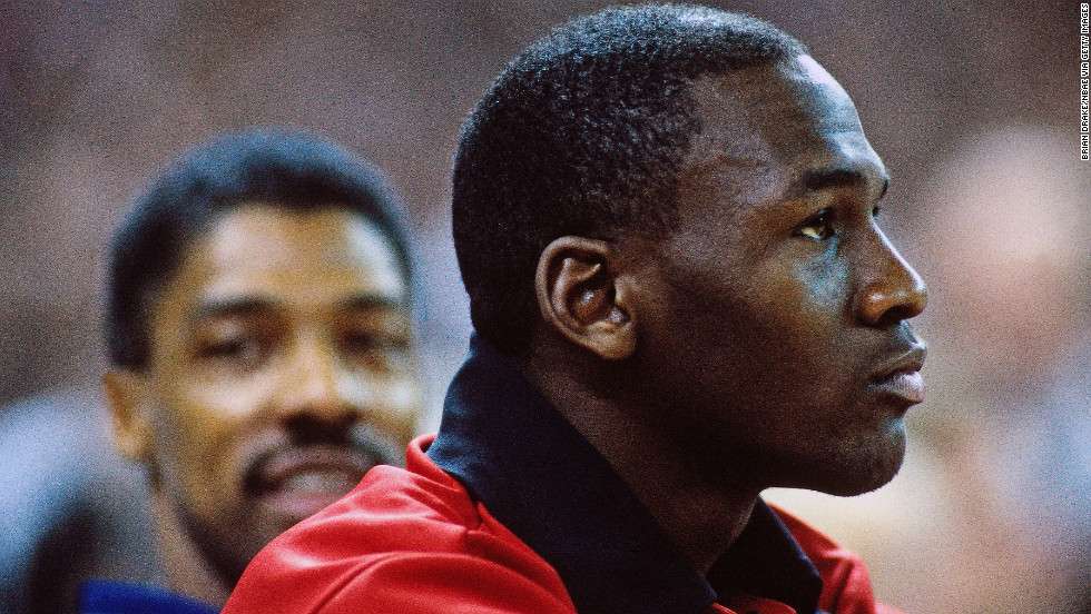 Jordan sits on the bench during a game against the Portland Trail Blazers in 1987.