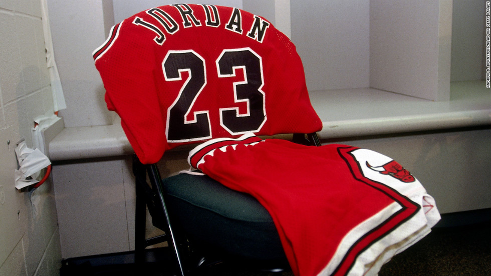 Jordan's uniform waits for him in front of a locker prior to Game 5 of the 1996 NBA Finals against the Seattle SuperSonics.