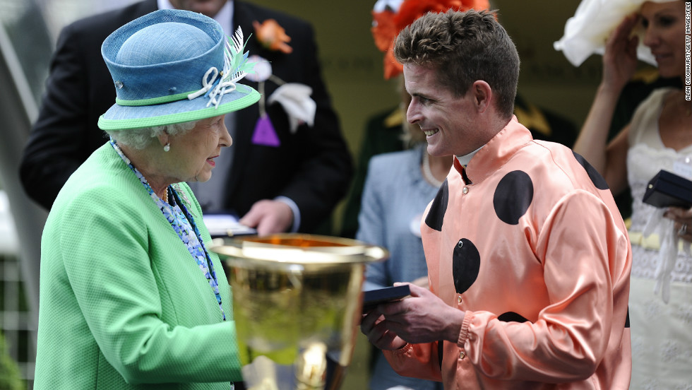 The Queen congratulates jockey Luke Nolen on his Ascot triumph. Nolen rode Black Caviar to victory 22 times in her stellar career.