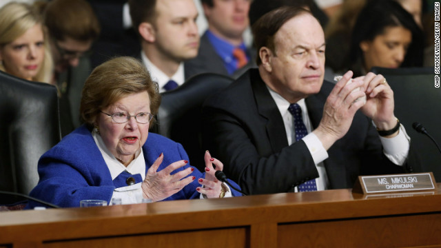 Sens. Barbara Mikulski and Richard Shelby grill witnesses during a Budget Committee hearing Thursday at the Capitol.