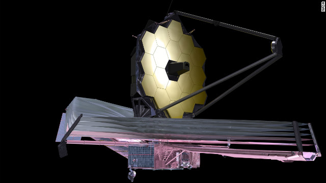 An artist's depiction of what the James Webb Space Telescope will look like.