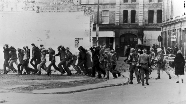 British paratroopers take away civil rights demonstrators on 'Bloody Sunday' in 1972.