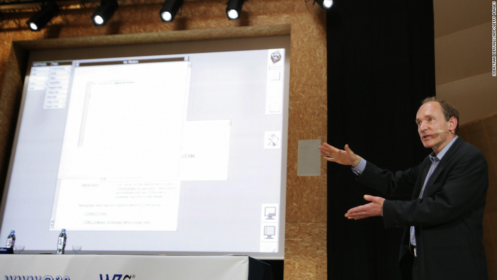 The World Wide Web was an unexpected invention that arose at CERN, to help physicists communicate better. Here, Tim Berners-Lee, who came up with it, demonstrates the NeXT computer on which he developed the Web.