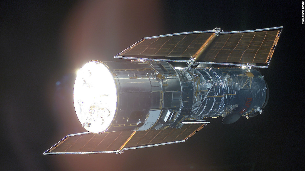 This is what the Hubble Space Telescope looks like.