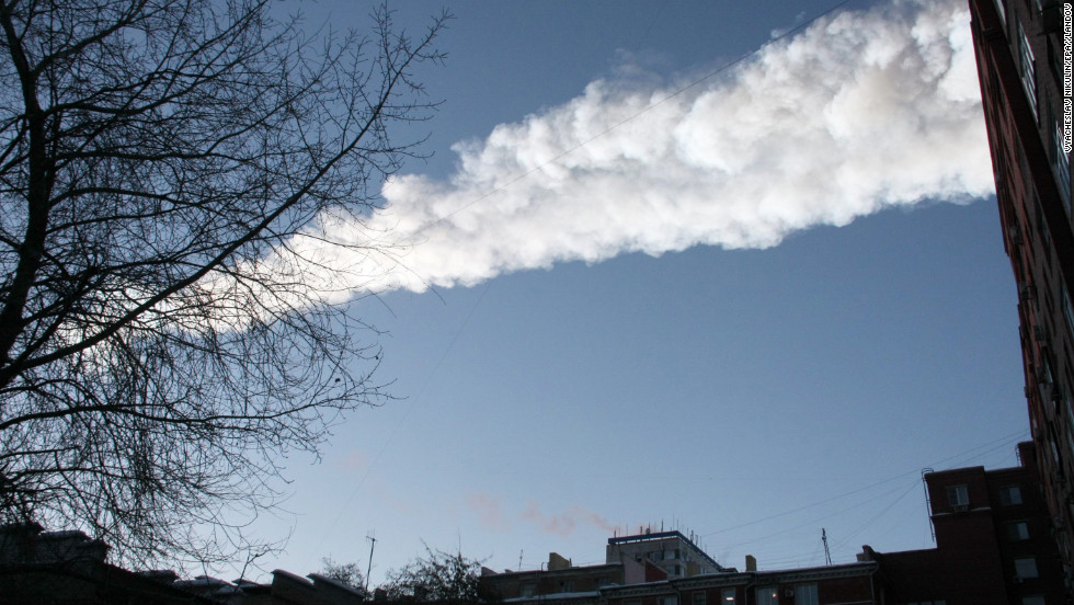 The meteor leaves a white streak through the sky. The national space agency, Roscosmos, said scientists believed one meteoroid had entered the atmosphere, where it burned and disintegrated into fragments, according to RIA Novosti.