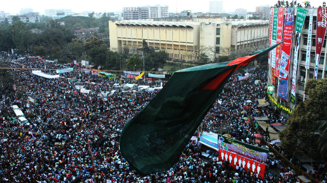 Tens of thousands join a sit-in at Shahbagh Square in Dhaka, Bangladesh, Friday, demanding the death penalty war crimes.