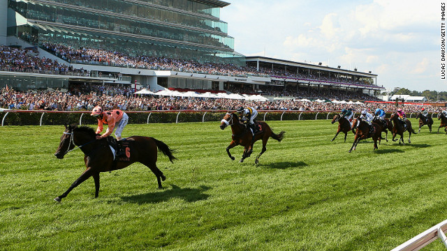 Jockey Luke Nolen riding Black Caviar wins her 23rd consecutive race, the Black Caviar Lightning Stakes in Melbourne.