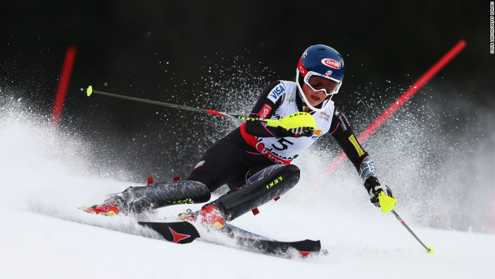 The 17-year-old from Vail, Colorado produced a superb performance to win the women's slalom title at the World Ski Championships in Austria on Saturday.