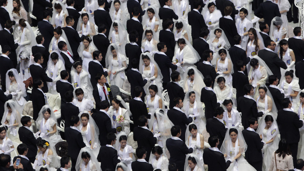 Thousands of couples take part in the Unification Church's International Mass Wedding Ceremony, also known as the Cosmic Blessing, at Cheong Shim Peace World Center in Gapyeong, South Korea, on Sunday, February 17. More than 20,000 people were expected to participate, including 1,000 couples getting married for the first time, 2,500 previously married couples, and 13,000 guests. The ceremony signifies the transcending of race and religion by creating God-centered families, according to the church, which is known for mass weddings and arranged matches.