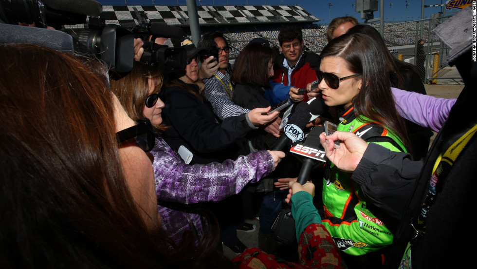 Patrick speaks to the media after qualifying for the Daytona 500 on Sunday, February 17, 2013, in Daytona Beach, Florida.