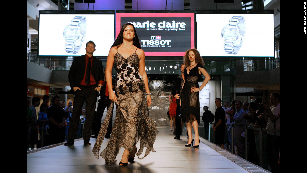 Patrick walks the runway during a Marie Claire and Tissot fall fashion preview show at the Fashion Show Mall in 2006 in Las Vegas.