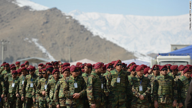 Afghan Commandos are pictured at the National Military Academy in Kabul on Saturday.