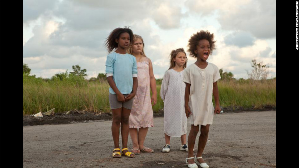 "Young Best Actress nominee Quvenzhane Wallis, right, stars in Best Picture nominee ""Beasts of the Southern Wild,"" set in a fictional marshy area called the Bathtub."