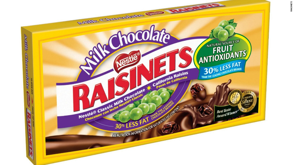 <strong>Worst use of real fruit: Raisinets, 3.5-ounce box </strong><br />If a fruit is covered in chocolate, is it still a fruit? Hardly, says Kriegler. <br /><br />Let's look at the facts: A theater-size box of milk chocolate Raisinets contains 380 calories, 54 grams of sugar and 16 grams fat; the dark chocolate variety's only slightly better with 360 calories and 52 grams of sugar. The candies may technically contain a half serving of fruit in every quarter cup (or one full serving per box), but you're much better off eating an apple, or even a box of plain raisins -- with zero fat, cholesterol, or added sugar. <br /><br />However, if you're choosing between chocolate-covered candies, Raisinets are a better choice than some other options.
