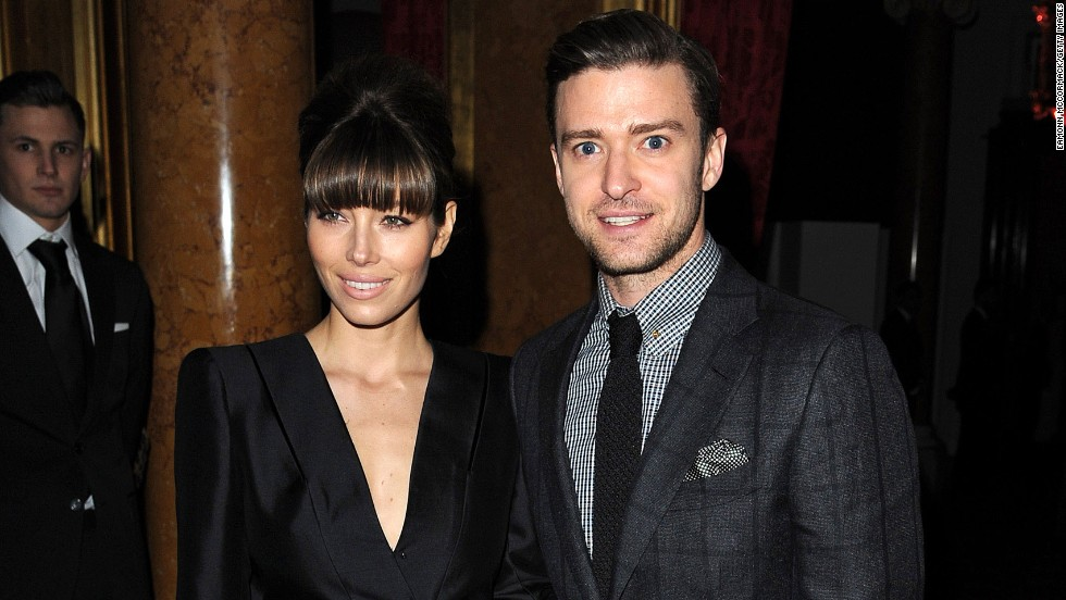 Jessica Biel and Justin Timberlake attend a fashion show in London.